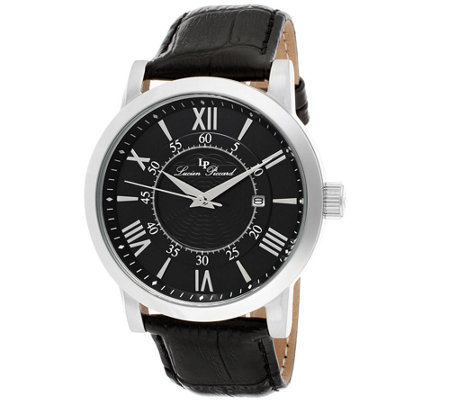 Lucien Piccard Stockhorn Men's Black Leather Watch