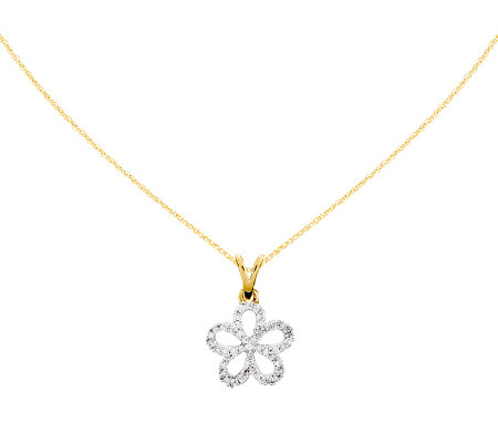 "Diamond Flower Pendant w/ 18"" Chain, 14K, 1/10cttw by Affinit"