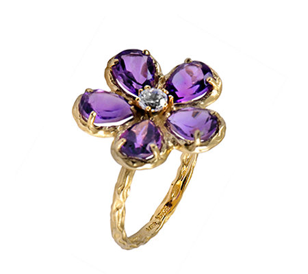 Adi Paz 2.90 cttw Amethyst & Crystal Flower Ring, 14K Gold