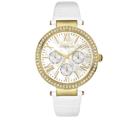 Caravelle New York Women's Crystal-Accent WhiteLeather Watch