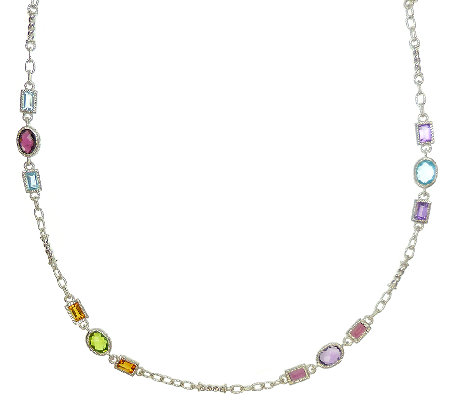 "Judith Ripka Sterling Multi-Gemstone Station 36"" Necklace"