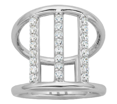 Diamonique Sterling 4/10cttw Triple-Bar Ring