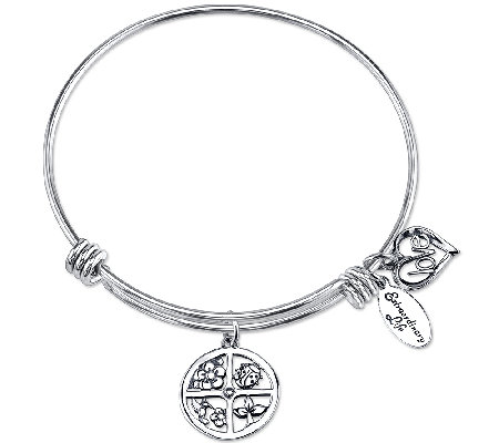 Extraordinary Life Sterling Floral Love Charm Bangle