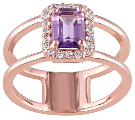 1.30 cttw Amethyst & White Topaz Ring, Sterling