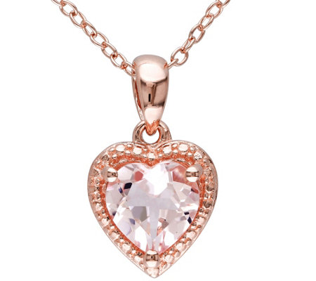Sterling 1.10 ct Morganite Pendant w/ Chain
