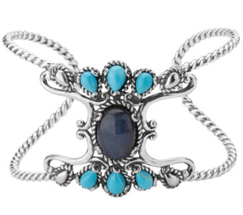 Carolyn Pollack Sterling Labradorite and Turquoise Cuff - J342283