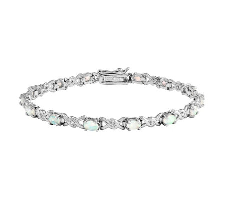"Sterling Simulated Opal and Crystal 7-1/4"" Bracelet"