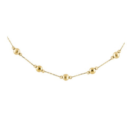 "14K Gold Textured and Polished Bead 17"" Necklace"