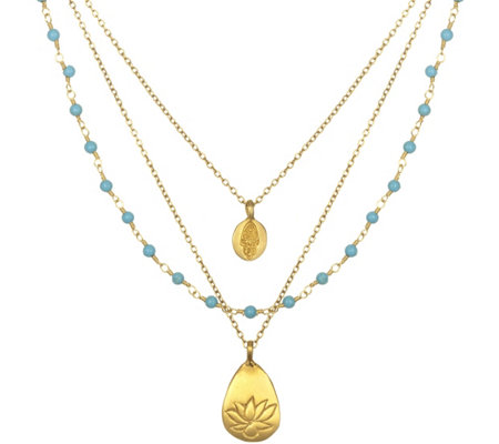 Satya Turquoise, Hamsa, & Lotus 3-Strand Necklace