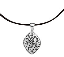Petroglyph Sterling Silver Pendant on LeatherCord - J343283