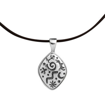 Petroglyph Sterling Pendant on Leather Cord byAmerican West - J343283