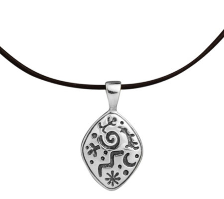 Petroglyph Sterling Pendant on Leather Cord byAmerican West
