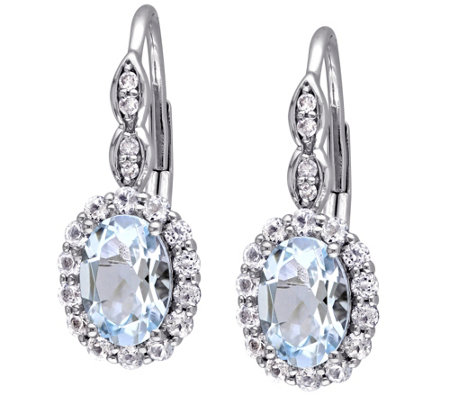 2.00 cttw Aquamarine & White Topaz Earrings, 14K