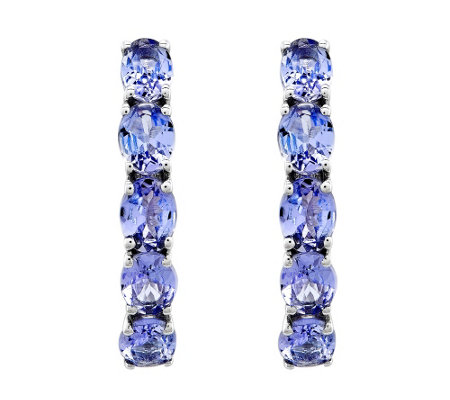 Sterling Oval Tanzanite Hoop Earrings, 1.80 cttw