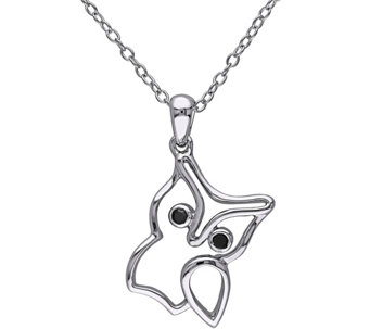 Black Diamond Accent Outlined Owl Pendant w/ Chain, Sterling - J343883
