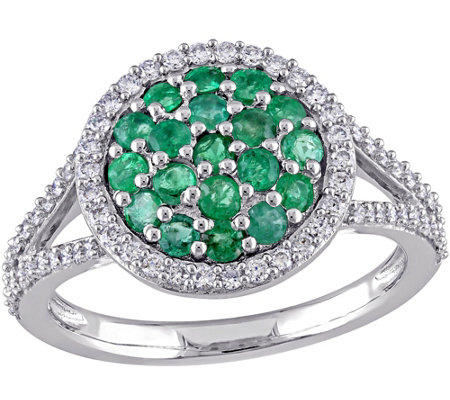 0.75 cttw Emerald & 3/8 cttw Diamond Ring, 14KGold