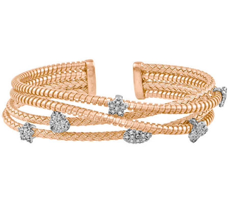 Sterling Silver or 14K Gold-Plated Crystal Multi-Cuff Bracele