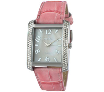 Peugeot Women's Silvertone Crystal Bezel Pink Leather Watch - J344583