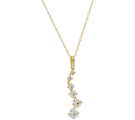 Diamonique Six Stone Journey Pendant w/ Chain, 14K Gold
