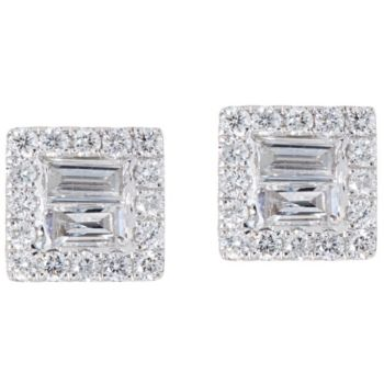 Baguette & Round Diamond Stud Earrings, 14K, 8/10 cttw by Affinity