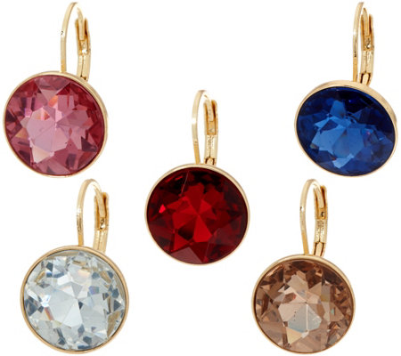 Joan Rivers Set/5 Faceted Round Lever Back Earrings