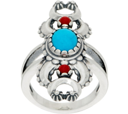 American West Turquoise & Coral Naja Sterling Silver Ring