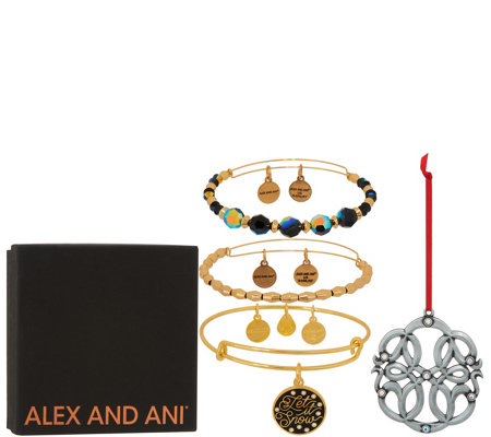 Alex and Ani Set of 3 Let It Snow Bangles & Ornament