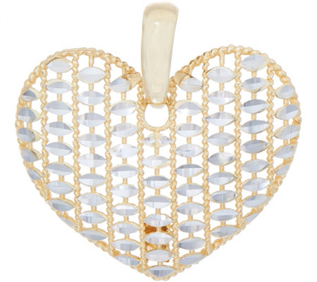 Italian Gold Two-tone Diamond Cut Heart Pendant 14K Gold 1.8g