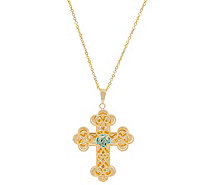 Italian Gold Gemstone Cross Pendant with Chain, 14K Gold - J355083
