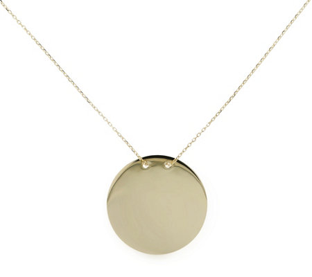 Italian Gold Polished Round Disc Necklace 14 KGold 2.8g