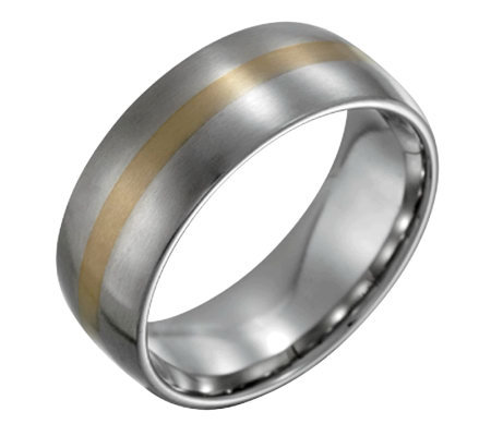Forza Men's 8mm Steel w/ 14K Gold InlaySatin Ring