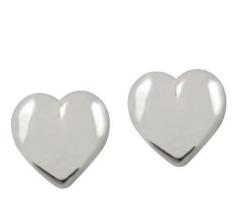 UltraFine Silver 10mm Heart-Shaped Button Earrings - J110584