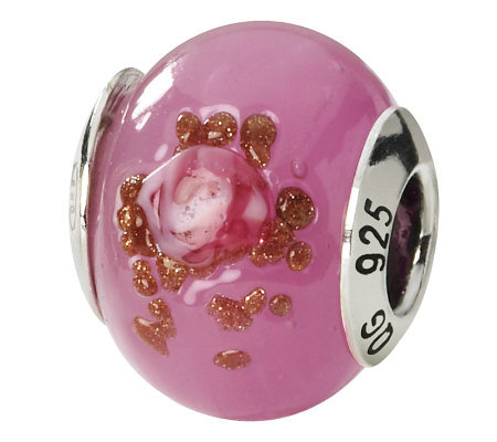 Prerogatives Sterling Pink & Brown Italian Murano Glass Bead