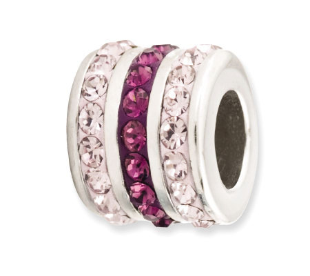 Prerogatives Sterling Purple Crystal Small Barrel Bead