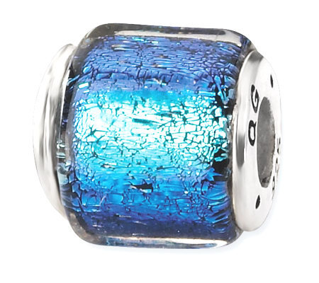 Prerogatives Sterling Dark Blue Dichroic GlassSquare Bead