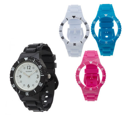Gossip Interchangeable Watch with 4 Straps & Bezels