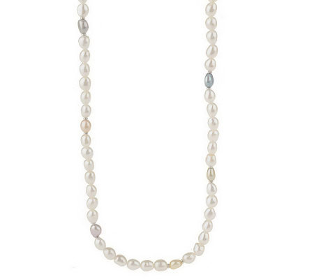 "Honora Cultured Pearl 7.0mm Baroque 56"" Sterling Bead Necklace"