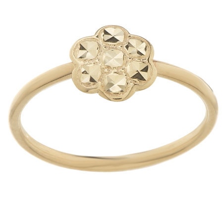 Stackable Diamond Cut Flower Ring 14K Gold