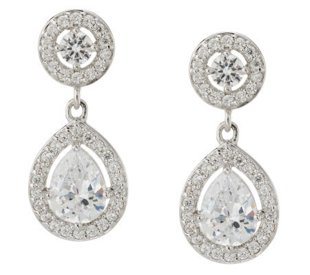 Epiphany Diamonique 3.30 ct tw Pear Shaped Drop Earrings