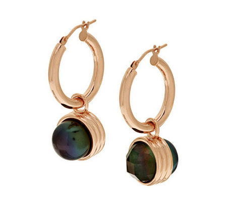 Honora Cultured Pearl Reversible Bronze Drop Hoop Earrings