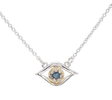 diamond evil eye necklace sterling 1 10 cttw by. Black Bedroom Furniture Sets. Home Design Ideas