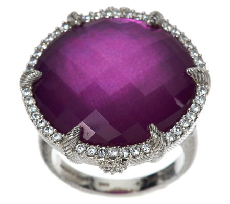 Judith Ripka Eclipse Raspberry Doublet Round Ring