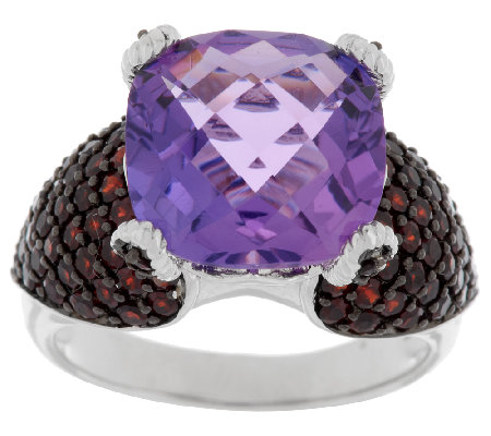 7.10 ct tw Amethyst Cushion & Pave' Garnet Sterling