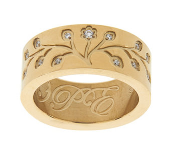 Stainless Steel Family Tree Engraved Ring - J292784