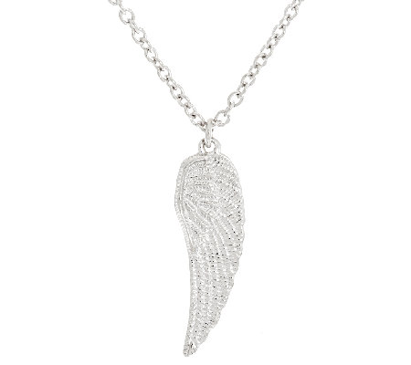 "Vicenza Silver Sterling Angel Wing Pendant with 18"" Chain"