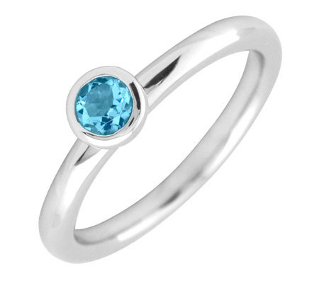 Simply Stacks Sterling 4mm Round Blue Topaz Solitaire Ring