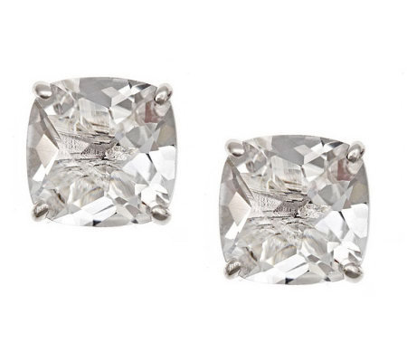 Sterling 3.15 cttw Cushion-Cut Gemstone Stud Earrings