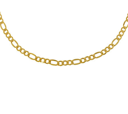 "20"" Polished Figaro Necklace, 14K Gold 8.30g"