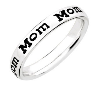 "Simply Stacks Sterling Enamel ""Mom"" Band Ring - J311284"