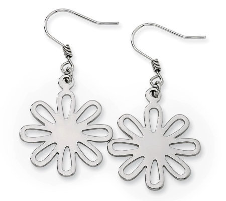 Stainless Steel Polished Flower Dangle Earrings